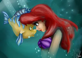 Ariel and Flounder by GoodGurlGonBad