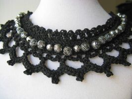 Black Choker with Silver Adornments by doilydeas