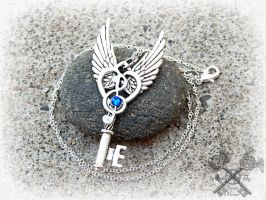 Silver and Sapphire Music Note Key Necklace by ArtByStarlaMoore