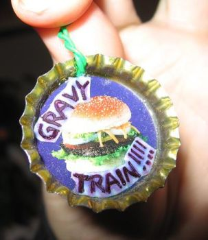 GRAVY TRAIN pimp bottlecap pin by the-taxidermy