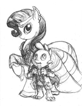 Rarity and Spike - At the 2012 Gala by TheLivingShadow