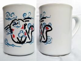 Happy Cat - Stencil on ceramic mug by prometteu