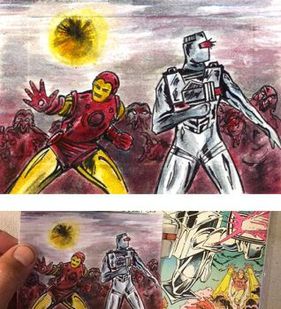 ROM spaceknight 65 Iron Man team up sketch card by csuhsux