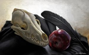 Feather Fruit Skull by KatePfeilschiefter
