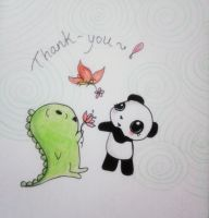Dino and Panda Thank You 007 by MelodicInterval