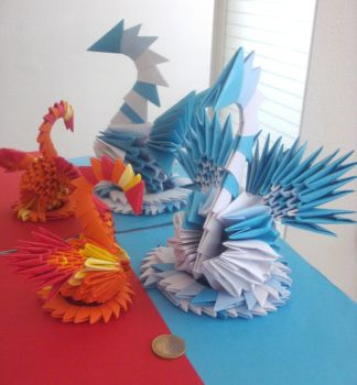 Fire and Ice - 3D Origami Swans by SophieEkard