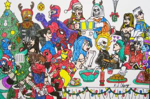 Fighters' Christmas Banquet by StealthNinja5