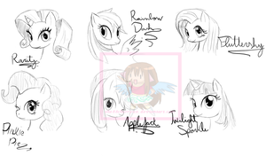 MLP FIM-BFF Group Sketch by the88cherryice
