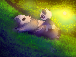 Pancham and Pangoro wallpaper by AngelBunnyXOXO