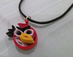 Paper Quilled Red Angry Bird Necklace by cunningcatcrafts