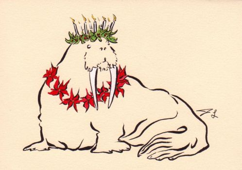 Christmas Walrus by Quilsnap