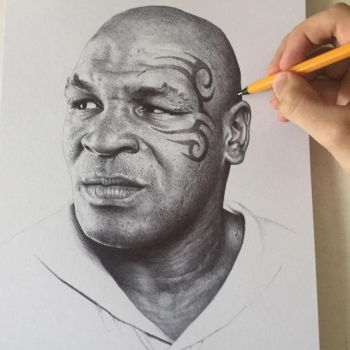 Iron Mike Tyson In Black Ball Point Pen. by JonARTon