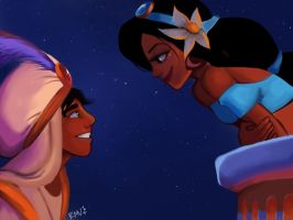 Aladdin and Jasmine by rosemarievergo