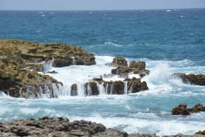 Ocean recovred rock as a small waterfall 2 by A1Z2E3R