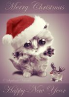 Merry Christmas and Happy New Year Cat and Mouse by StephanieVALENTIN