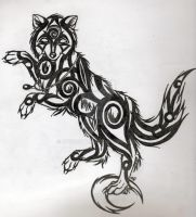 Tribal Wolf Tattoo by mystoftime