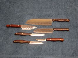 kitchen knives-cpm154 steel-cocobola handles by shadowgoofyboy