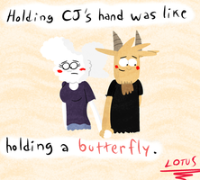 Holding her hand was like holding a butterfly. by LotusTheKat