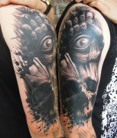Skull with all-seeing hand by viptattoo
