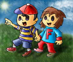 Commission: Ness and Freya by Quacksquared