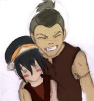 Toph and Sokka by Larphex