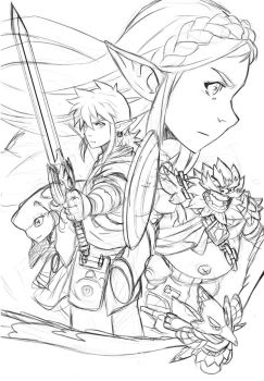 Zelda Breath Of The Wild - [Sketched Composition] by loboborges