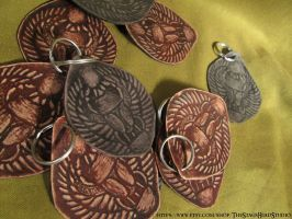 Leather Scarab Kheper Keyring by ImogenSmid