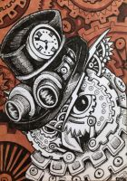 ACEO: Steampunk Owl by DanielleMWilliams