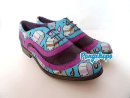 Chocolate Strawberry Milk Kawaii Brogues by ponychops