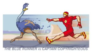BLUE RUNNER VS CAPTAIN COPYRIGHTEOUS by rubioric