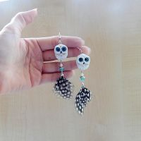 White polar owl earrings by koshka741