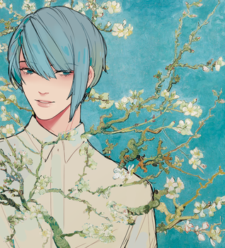 blossoming almond tree 02 by VictoriaSty