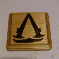 woodburned assassins creed slate by chui92