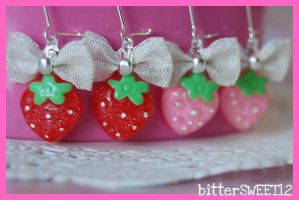 Sparkling Strawberry Earrings by bitterSWEETones