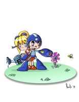Mega Man and Roll by posole