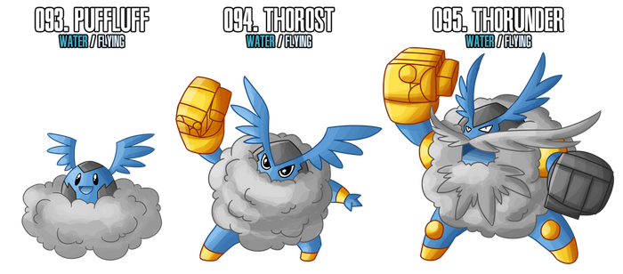 Fakemon: 93 - 95 by DrCrafty