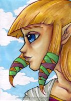 LoZ: SS - Zelda Art Card by KeyshaKitty