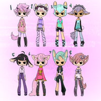 Collab w/hemoprince~Pastel Goth Boys Adopts (open) by ribbon-adopts