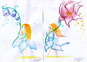 Christmas Flower Spirits by Paper-Star-Zombie