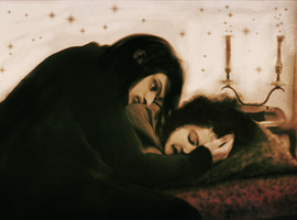 Young Severus Looking over Sleeping Hermione by Savvyshka