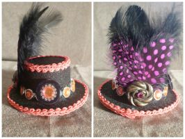 Black + Pink Mini Hat Hair Clip by AbsolutelyFascinated