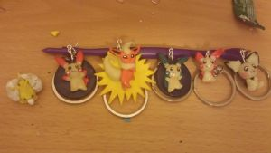 Lot of Glow in the Dark Pokemon Keychains by UwiGoncho