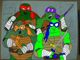 tmnt in the elevator by HINCAPIE319