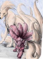 Vulpix and Ninetails by chained2stone