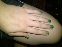 Green pearly nails by KMKramer44