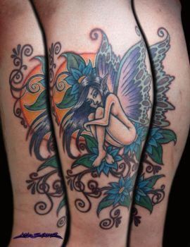 Butterfly Fairy with Flowers tattoo by MuddyGreen