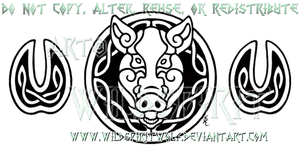 Celtic Boar's Head And Hooves Design by WildSpiritWolf
