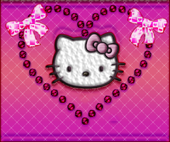 HELLO KITTY WITH BOW N HEART by MissesAmberVaughn