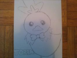 Torchic with a bowtie by uchiha-fan-girl