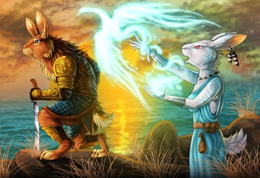 Fantasy Rabbits - warrior and mage by LadyFiszi